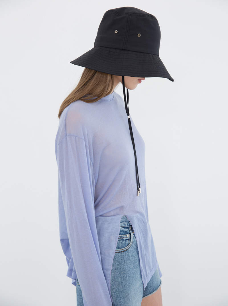 SEE THROUGH SLIT T-SHIRT (LIGHT BLUE)
