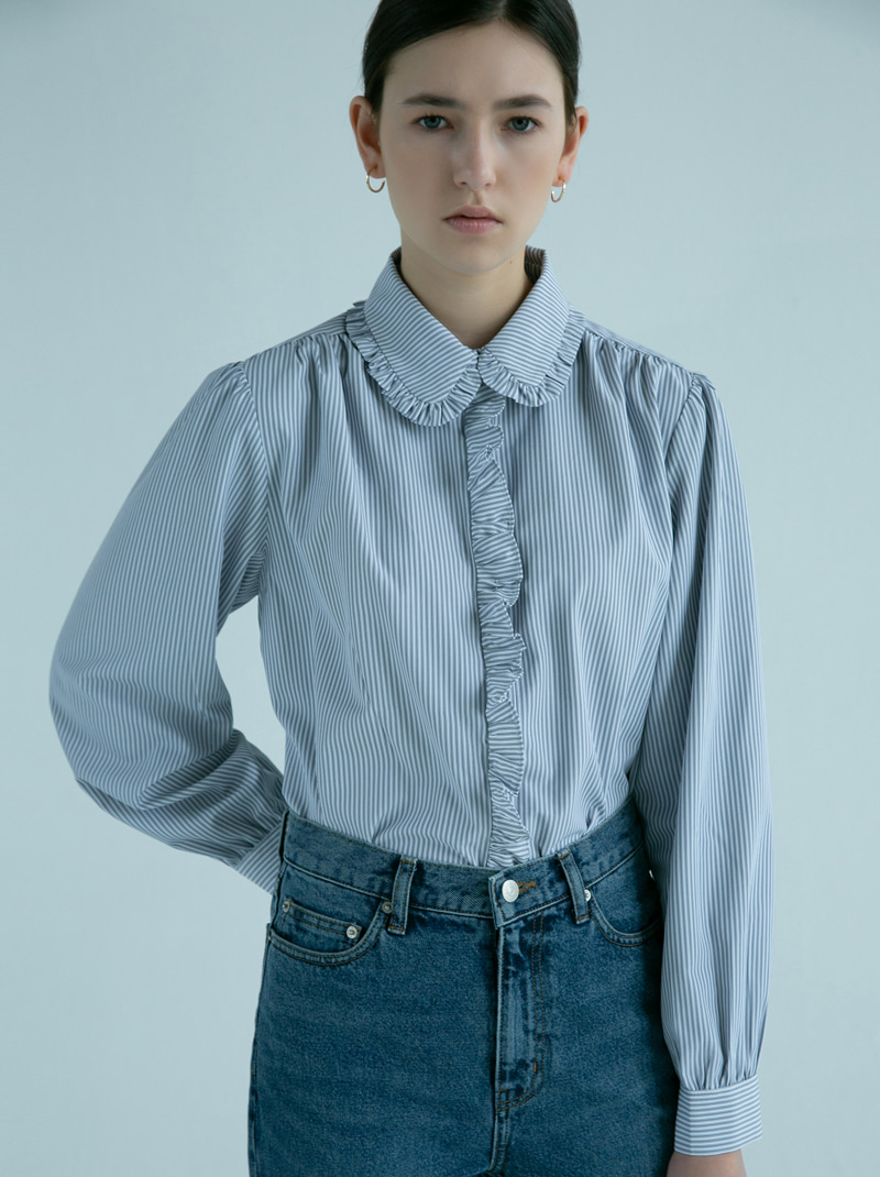 SHIRRING SHIRTS BLOUSE NAVY STRIPE